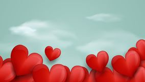 Happy Valentines day. Red hearts and soft blue background stock photo