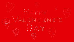 Happy Valentines Day, red, hearts. Valentine's Day banner with sparkling message and hearts on red background stock video footage