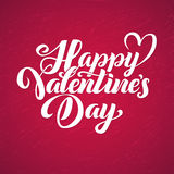 Happy Valentines Day red lettering background Greeting Card.  Royalty Free Stock Images