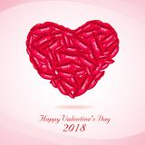Happy valentines day Red lips Royalty Free Stock Image