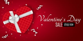 Happy Valentines day red romantic banner for sale. Gift from the heart. Red gift box with a white bow. Confetti and ribbons. Vecto. R illustration Royalty Free Stock Photo