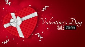 Happy Valentines day red romantic banner for sale. Gift from the heart. Shop now. Red gift box with a white bow. Confetti and ribb. Ons. Vector illustration Stock Photography