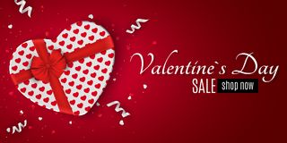 Happy Valentines day red romantic banner for sale. Gift from the heart. Special offer. White gift box with a red bow. Confetti and. Ribbons. Vector illustration Stock Image