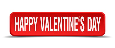 Happy Valentines day red square button on white background. Happy Valentines day red 3d square button on white background Royalty Free Stock Images