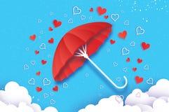 Happy Valentines day. Red umbrella. Air with Love raining. Origami Heart Rain drop. Parasol. Happy Monsoon season. Heart Stock Image
