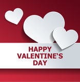 Happy Valentines Day in Red and White Design Stock Image