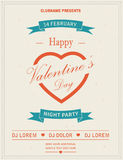 Happy Valentines Day Retro Party flyer invitation Royalty Free Stock Photography