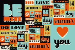 Happy Valentines Day retro vintage pattern vector illustration