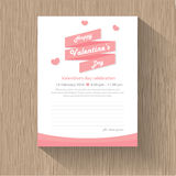 Happy valentines day ribbon with pink heart greeting cards, wood pattern background vector Royalty Free Stock Photos