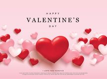 Happy Valentines Day romance greeting card. With red and pink 3D hearts stock illustration