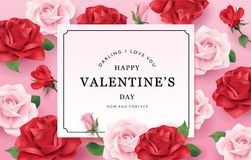 Happy Valentines Day romance greeting card. With red and pink roses background Royalty Free Stock Photo