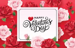 Happy Valentines Day romance greeting card. With red and pink roses background Royalty Free Stock Photography