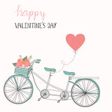 Happy Valentines day .Romantic bicycle with hand lettering.illus Stock Image