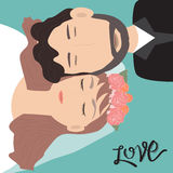 Happy Valentines day .Romantic Bride and Groom with hand letteri Stock Photo