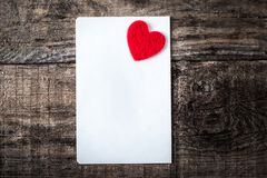 Happy Valentines Day romantic greeting card on wooden background Stock Photo
