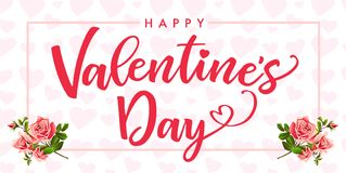 Happy Valentines Day, rose flower and hearts elegant card. Banner template with text Happy Valentine`s Day on frame rose flower and pink hearts background Vector Illustration
