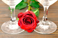 Happy Valentines Day: Rose and wine glasses on wooden background. Happy Valentines Day: Rose and wine glasses stock photos