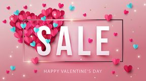 Happy Valentines Day Sale Banner, poster or flyer design with big heart made of pink and blue origami hearts. And gold glitter. Paper art, digital craft style vector illustration