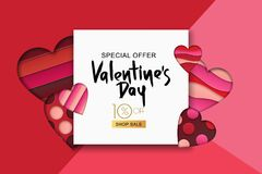 Happy Valentines day sale banner. Design for holiday flyer, poster, greeting card, party invitation. Vector illustration. Happy Valentines day sale banner. Pink Royalty Free Stock Images