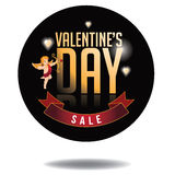 Happy Valentines Day sale gold type icon Stock Images
