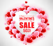 Happy Valentines Day Sale With Hearts For Promotional Purposes Stock Photo