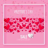 Happy Valentines Day SALE with hart Pink background. royalty free illustration