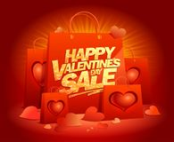 Happy Valentines day sale poster design. With paper bags and hearts Royalty Free Stock Photography