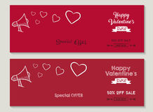 Happy Valentines day sale social media covers set Stock Photos