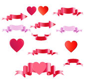 Happy Valentines Day.Satin colored tapes and heart. Stock Photography