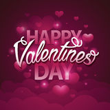Happy valentines day script text on pink background with hearts. Vector illustration EPS10 Royalty Free Stock Photography