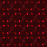 Happy Valentines day. Seamless pattern black background with red hearts. Vector illustration for romantic greeting. Royalty Free Stock Photography