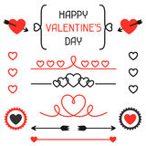 Happy valentines day set of decoration, dividers Stock Photography