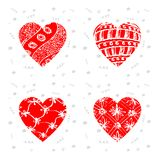 Happy Valentines Day - set of greeting cards with pattern. Vecto. R illustration with hearts Royalty Free Stock Photo
