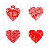 Happy Valentines Day - set of greeting cards. Vector illustratio. N with hearts, letters V and D Stock Photography