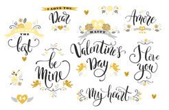 Happy Valentines Day. Set of hand drawn inscriptions. Royalty Free Stock Photos