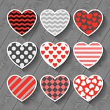 Happy valentines day set of heart stickers on wood Stock Photos