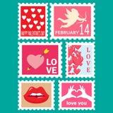 Happy valentines day set postage stamps stock illustration