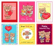 Happy Valentines Day Set of Posters, True Love Set. Happy Valentines day set of posters, true love is an always support, teddy girl in cheerleading uniform Stock Photography