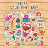 Happy Valentines Day set.Scrapbook set.Sticker. Royalty Free Stock Images