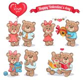 Happy Valentines Day Set of Teddy Bears Couples. Happy Valentines Day set of cute teddy bears couples in love which exchange gifts and spend time together Royalty Free Stock Photo
