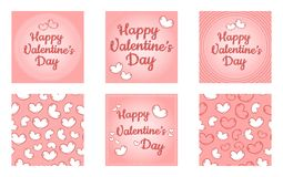 Happy Valentines Day set of templates. Cute retro cartoon colorful templates with hearts and stitches royalty free illustration