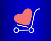 Happy Valentines Day. Shopping cart with heart on a blue background. Trolley on wheels. Royalty Free Stock Photography