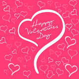 Happy valentines day sign. Heart shape on red background with hearts Royalty Free Stock Photos