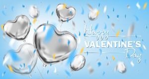 Happy Valentines Day sky blue card with metallic heart shape balloons. Happy Valentines Day lettering and metallic foil heart shape balloons. Design for stock photography