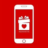Happy Valentines Day on Smart phone Stock Photography