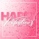 Happy Valentines Day square banner design. 14 February. Pink color romantic template with small hearts. Happy Valentines Day square banner design. 14 February stock illustration
