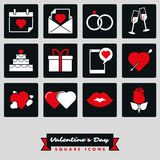 Happy Valentines Day Square Two Color Icon set. Set of twelve Valentines Day, Love and Romance related square black and white icons with red accent color Stock Images