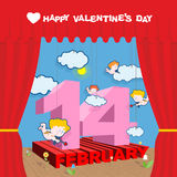 Happy Valentines day. Stage and Red Curtain.  Royalty Free Stock Image
