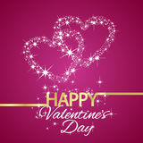 Happy Valentines Day star hearts pink background. Vector Royalty Free Stock Images