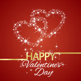 Happy Valentines Day star hearts red background. Vector Royalty Free Stock Images